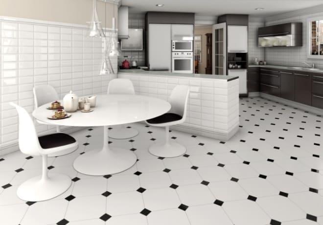 Интерьер кухни с плиткой на полу